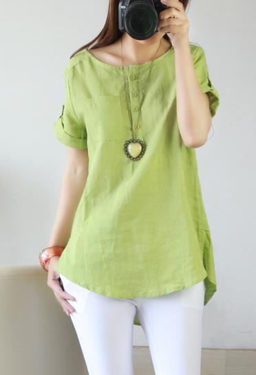 Hot sale 2014 summer tops for women cotton linen garment women white t shirt plus size shirts Free Shipping(China (Mainland))