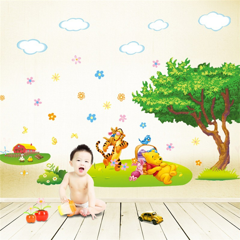 Trees And Bear Pattern Removable wall stickers Winnie the Pooh Stickers Wall Children Decals Art Decal For Baiyun shipping(China (Mainland))