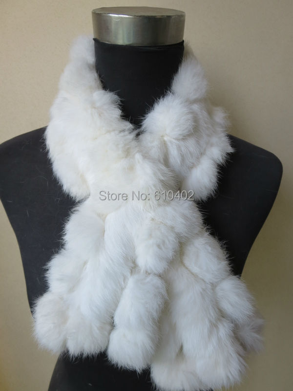 Free shipping/real100% complete  rabbit  fur  handmade new  Fishtail winter scarf /neckerchief /white