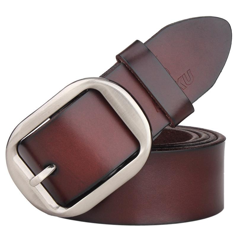 100 cowhide genuine leather belts for men BAIEKU brand Strap male pin buckle fancy vintage jeans