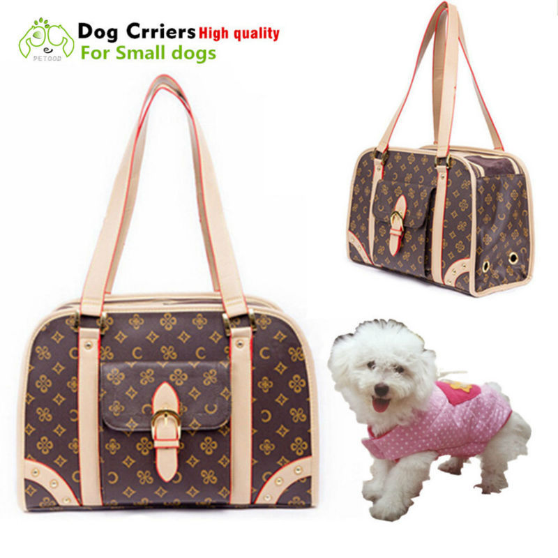 Travel Carriers Dog Bags Small Animal Pet Carrier leather Slings dog cat bags Classic Retro with Printing Fashion High Quality(China (Mainland))