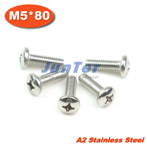 100pcs/lot DIN7985 M5*80mm Stainless Steel A2 Pan Head Phillips (Cross recessed pan head) Screw<br><br>Aliexpress