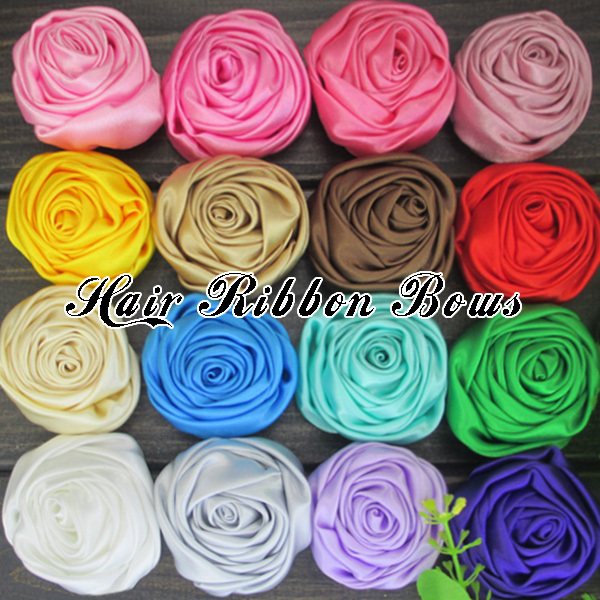 "50pcs/lot 2""Rolled Rosette Flower Shabby Frayed Rose Flowers Satin Ribbon Rosettes Baby Girls Boutique Flower Hair Accessories.(China (Mainland))"