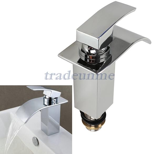 Free Shipping Hot Sale New Chrome Bathroom Waterfall Faucet Vanity Sink Mixer Tap Single Handle(China (Mainland))