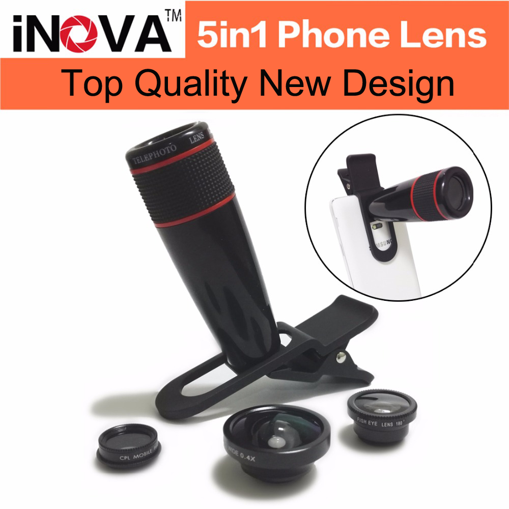 iNOVA Universal 5in1 phone Lens Kit Clip-on 12xtelephoto +15x Macro+0.4x super Wide Angle+180 Degree Supreme Fisheye + CPL len(China (Mainland))