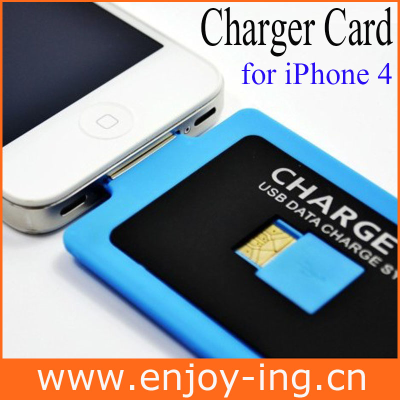 Newest Deign Credit card-3mm Thickness Charge Card 30PIN Charger Cable for iPhone 4 4s Wholesale 200pcs/lot Free shipping(China (Mainland))
