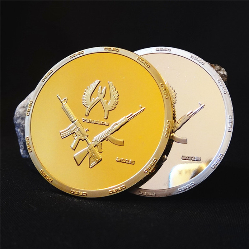 2 pcs Internet war game CSGO counter strike global offensive 24k gold silver plated souvenir coin(China (Mainland))