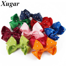 Buy 4'' Chic Ribbon Rhinestone Hair Bows Dance Party Summer Style Lovely Girls Hair Accessories Hair Clip for $1.32 in AliExpress store