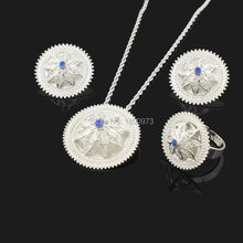 Newest Ethiopian Crystal Pendant/Earrings/Ring/Necklace Jewelry Silver Plated Habesha Jewelry African 4PCS Wedding Jewelry Sets(China (Mainland))