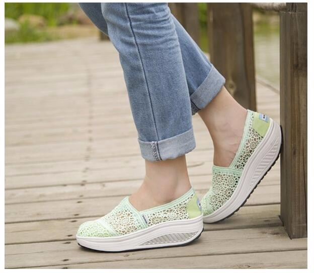 2016 Breathable Women Shoes Lace Multicolor Loafers Summer Wedges Lose Weight Creepers Platform Shoes Woman Slip On Flats