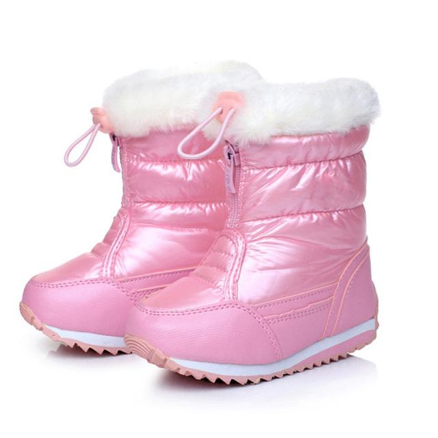 Сплошной Цвет Девушки Зимние Ботинки PU Кожаные Водонепроницаемые Сапоги Детские
