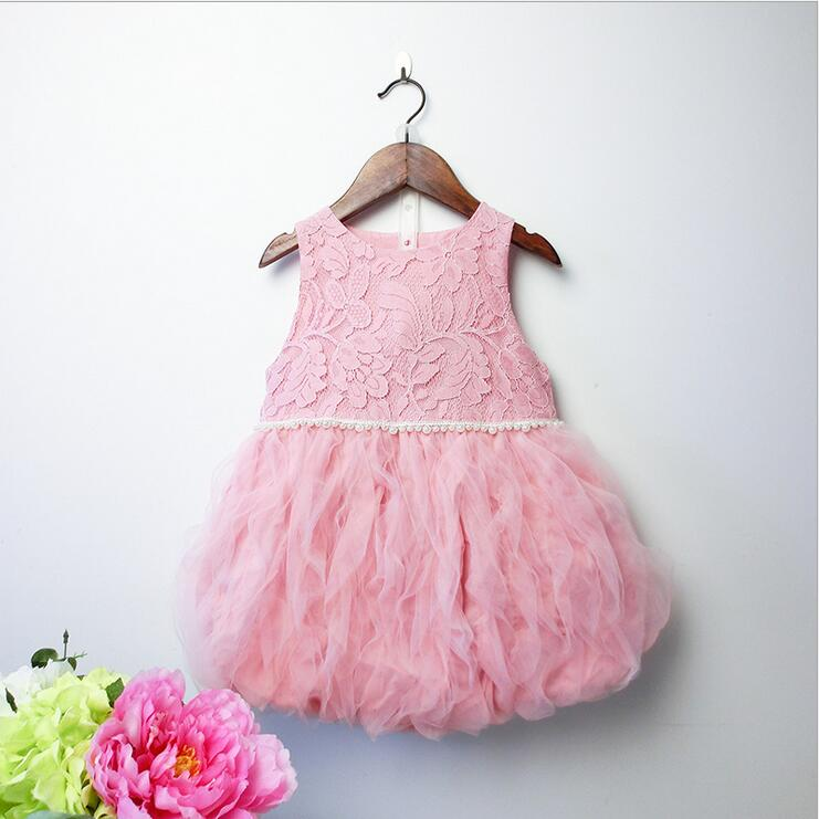 Girls Summer Dresses 2016 New Girl Ball Gown Lace Tulle TuTu Princess Dress Fashion Cute Girls Clothing Wholesale(China (Mainland))