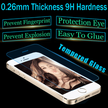 0.26MM 2.5D Tempered Glass Screen Protector Glass For iPhone 5G/5C/5S Protective Film Free Shipping