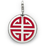 Fashion European silver Round card pendant unique red auspicious symbol charm (1.5x1.5cm) fit charm bracelet for women TSCH544(China (Mainland))