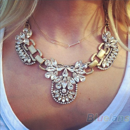 Luxury Women Noble Crystal Cluster Chain PENDANT Necklace Retro Gold Bubble Bib Statement Necklace Wedding Wear 043R(China (Mainland))