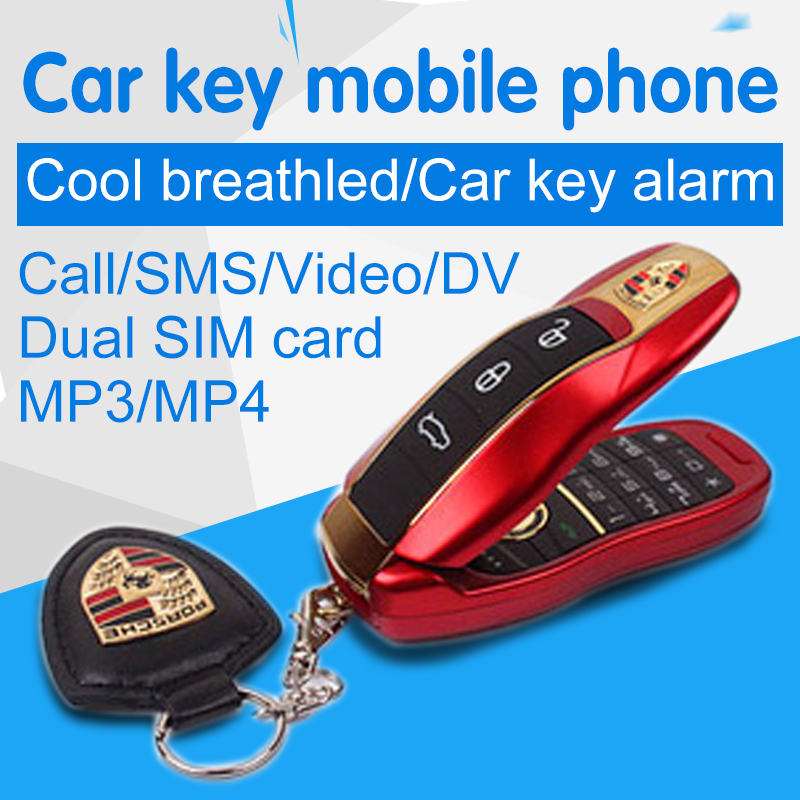 Russian Greek Arabic Hebrew Dual SIM cards Quad-bands Flip luxury small size mini car key mobile phone cellphone handset P005(China (Mainland))