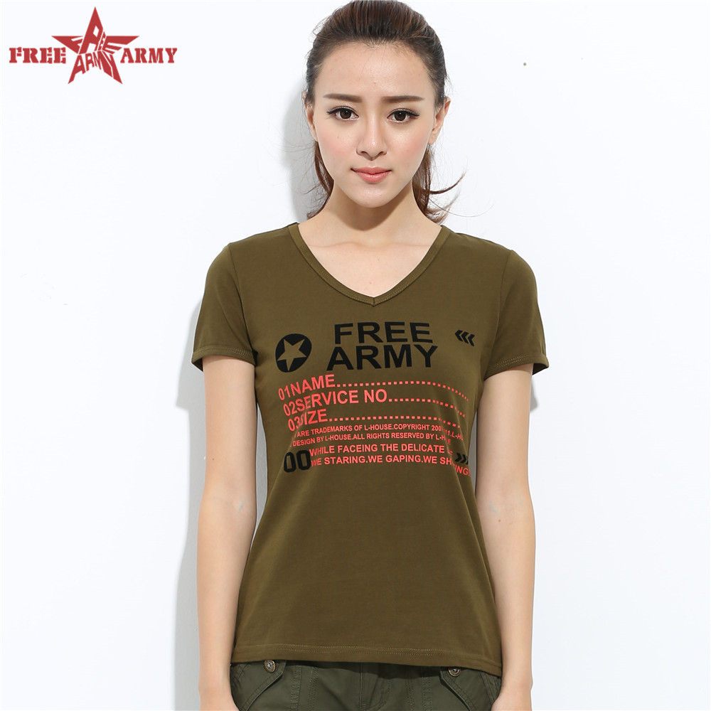 New Fashion English Characters Printed Pattern Military Green Short Sleeve Shirt Women T-Shirts Teenage Women Tops GVS025 Z50(China (Mainland))
