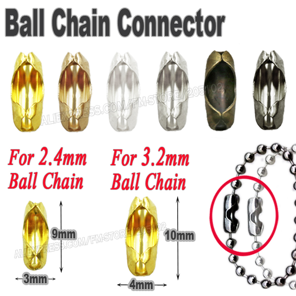 For 2.4mm 3.2mm Ball Chain End Connectors Caps Gold Silver bronze black for metal bead linker Clasp Jewelry Findings Accessory(China (Mainland))