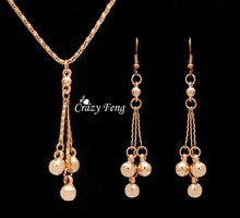Trendy Jewelry Sets Necklace Earrings For Women With Dangle Pendants18K Gold Plated Bridal Party Costume Jewelry Bijouterie(China (Mainland))