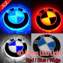 Newest 82mm 4D Blue white Car LED rear emblem decorative light auto badge lamp sticker LED logo light(China (Mainland))