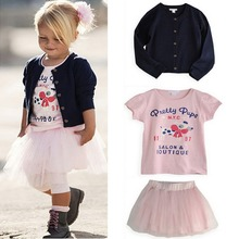 3 Pieces Set Girls Baby Clothes T shirt Coat Skirt Outfit TuTu Dress 0 5 Years