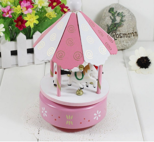 Pink top Wooden/merry-go-round / music box/Christmas birthday present for girlfriend creative gift carousel music box 03-2(China (Mainland))