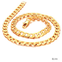 Fashion Gold Jewelry Mens 18KGP Gold Plated Fancy Chain 7mm Flat Curb Cuban Link Lobster Claw Clasp Chain Necklace 50cm 24g