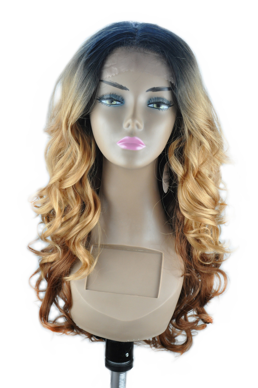 "16""-26"" Front Hand Knotted Fiber Synthetic Front Lace Wigs Body Wave Ombre Piano 1B2730(China (Mainland))"