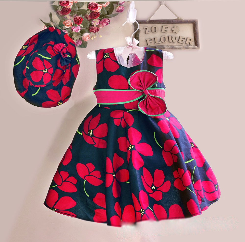 new summer baby floral dress with cap european style