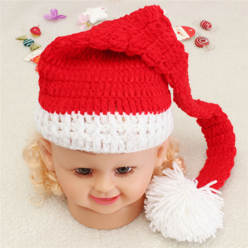 New Arrival Hot Sale Fashion Design Baby Christmas Crochet Knit Hat Photography Costume Photo Prop Santa Claus Christmas Hat(China (Mainland))