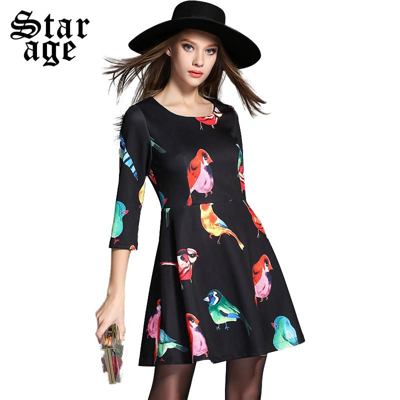 XL-5XL Ladies Long Sleeve Print Dress 2015 Spring Autumn Big Size Knee Length Dress Women Plus Size Short A-Line Dresses 2099(China (Mainland))
