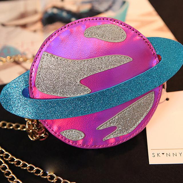 2016 британский мода марка уникальный мода планета лазерная циркуляр мини-посланник сумка женская сумочка ну вечеринку клатч