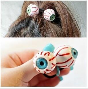 Korean Harajuku eyes bloodshot hair bands hair Rope personality trend ornaments(China (Mainland))