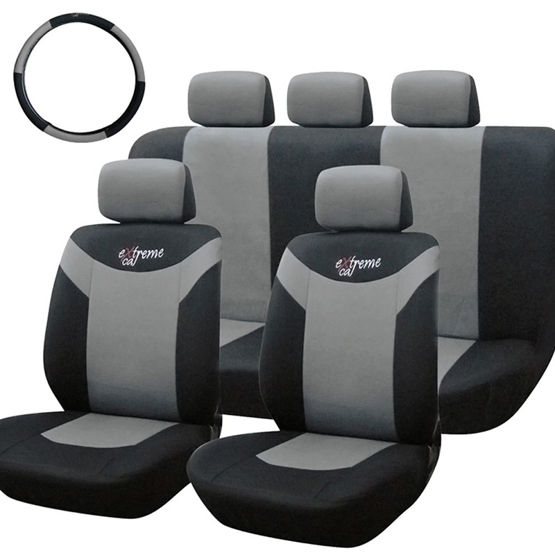 10PCS Car Seat Covers Full Set Polyester Sponge Car Styling Interior Accessories Universal Car Seat Covers Gray and Black E#A(China (Mainland))
