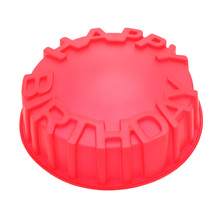 Round Baking Cake Pan Mold Happy Birthday Letters Embossing Craft DIY Decorating Pastry Tool Kitchen Accessories