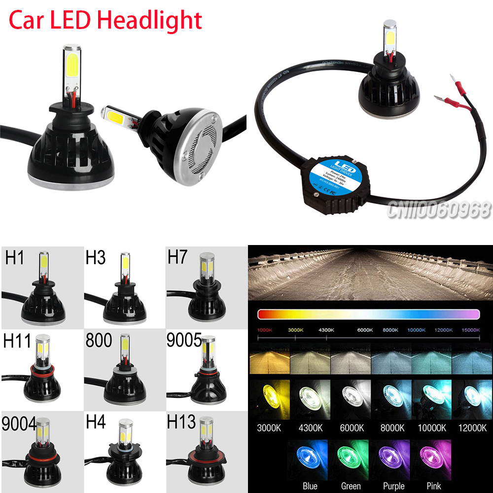 1 Pair 40W LED COB Car Headlight 4000lm 6000k Bulb Lamp H1 H3 H7 H11 800/881 9005 9006 HID Replacement Kit Styling CP7528 - GZDL Official Store store