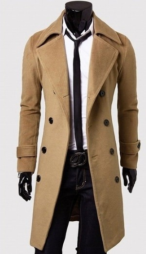 mens fashion 2014 Winter casual Breasted men's unique outerwear long design double breasted wool coat(China (Mainland))