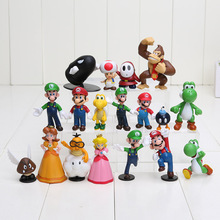 "Wholesale 18PCS Super Mario Bros 1-2.5"" Figure Toy Doll Super Mario Brothers Fun Collectible PVC figures Super mario Figure toy(China (Mainland))"