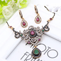 Vintage Women Round Flower Jewelry Sets Flower Earrings Round Pendant Necklace Nigeria Resin Jewelry Sets Bridal Ethnic Jewelry