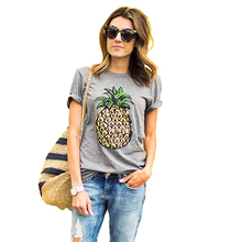 2016 Summer Women T shirt Fruit Print Pineapple T-shirt O-neck Casual Short Sleeve Tee Tops Female Tshirt Woman Clothes 1118(China (Mainland))