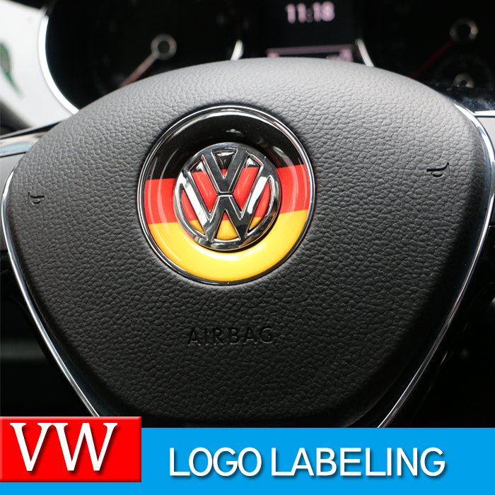 Car Styling Steering wheel Logo Emblem Sticker For Volkswagen VW Polo Tiguan Touran Passat B5 B6 B7 Golf 4 5 6 7 Jetta MK5 MK6(China (Mainland))