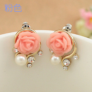 Hot Sells Fashion Cute Sweet 18K Gold Plated Rose Shaped Artificial Pearl &Diamond Stud Earrings Women Pink - Leader Home store