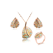 2016 Newest Special Fashion New Arrival Rubber Rose Gold Plated Jewelry Set Gift Ring+ Earrings for Women+Necklace(China (Mainland))
