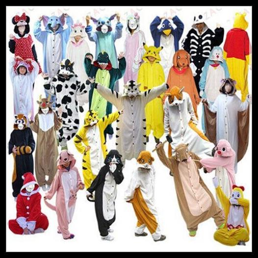 Hot Unisex Adult Flannel Pajamas Adults Cosplay Cartoon Cute Animal Onesies Pyjama Sets Sleepwear Pikachu/Stitch/Unicorn/Tiger(China (Mainland))