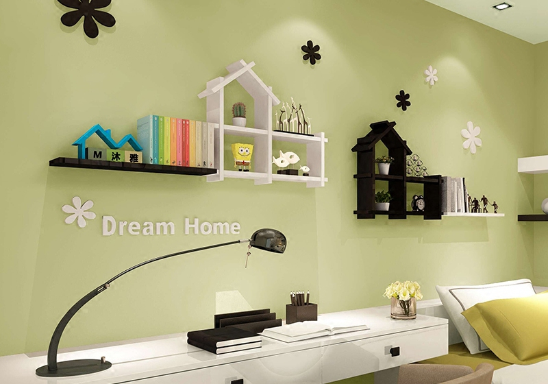 Small clapboard house room background wall shelving decorative shelf bracket hangings living<br>