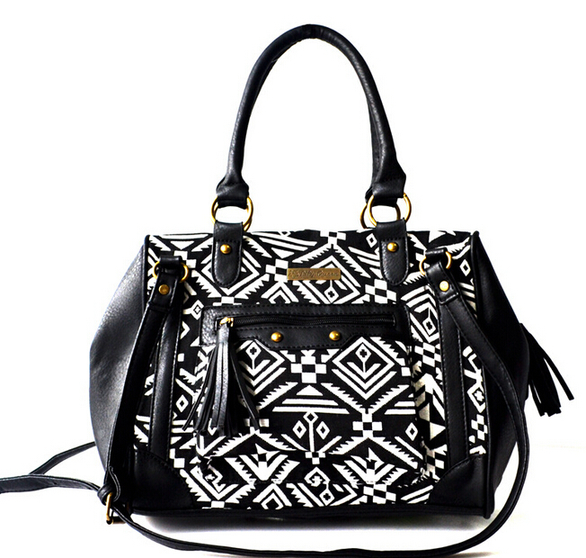 Western latest unique designer two tone black white geometrical front pocket tassel tribal tote satchel women shoulder hand bag(China (Mainland))
