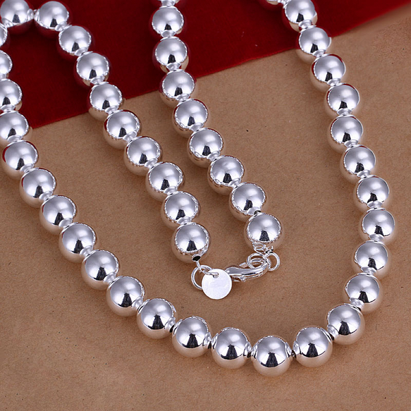 Fashion Jewelry 925 sterling silver gilr Women 10mm beads chain Necklace Wholesale 925 silver Jewelry