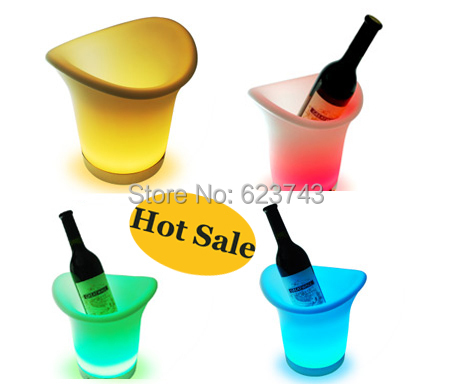 Free Shipping 2PCS/Lot 2.7L color changing led ice bucket furniture,led beer bucket coolers for bars,party, LED beer wine cask(China (Mainland))