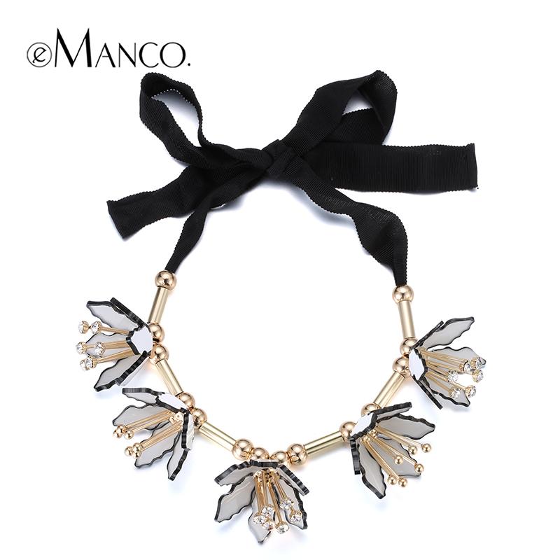 2015 элегантный медное ожерелье лента ожерелье акриловый цветок колье женщины ожерелья симпатичные ювелирные изделия новое поступление eManco NL12984