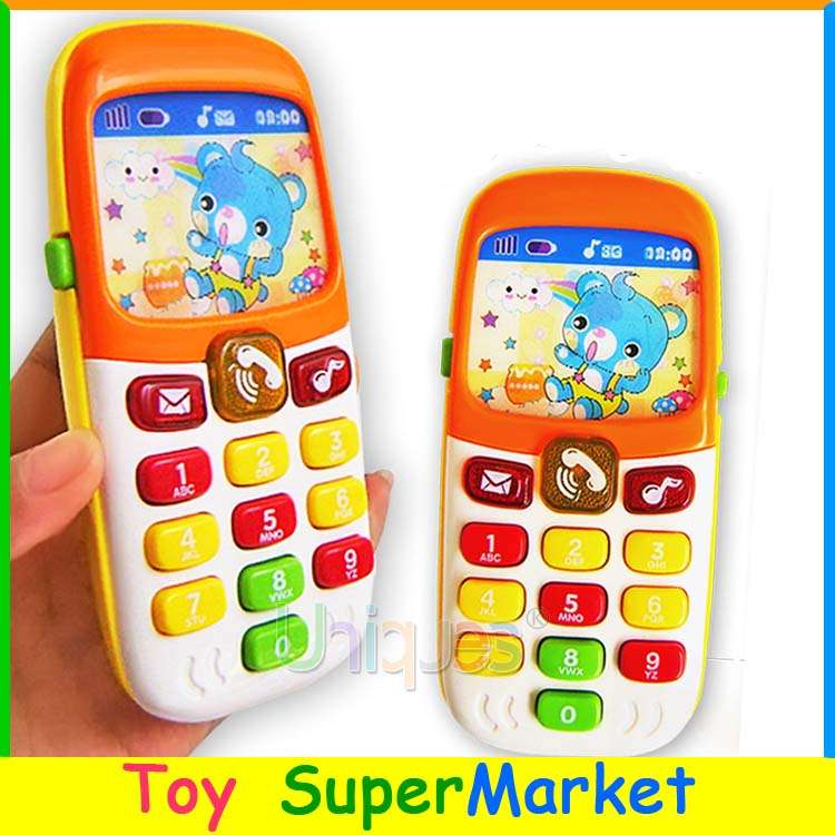 Free Ship Kid Toy Phone Cellphone Mobile Phone Early Education Learning Toy Machine Music Electronic Phone Model Infant Toy Gift(China (Mainland))